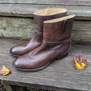 Frye Leather Ankle Boots Harness Distressed Brown